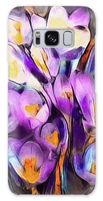 Galaxy Case featuring the mixed media The Colors Of Crocus by Susan Maxwell Schmidt