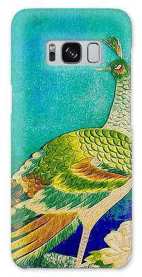 Galaxy Case featuring the tapestry - textile The Handsome Peacock - Kimono Series by Susan Maxwell Schmidt