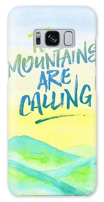 The Mountains Are Calling Yellow Blue Sky Watercolor Painting Galaxy Case