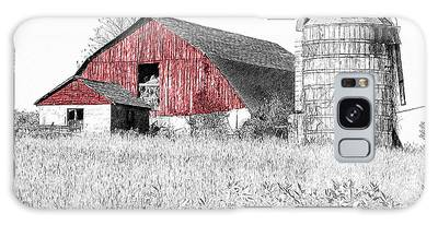 Galaxy Case featuring the photograph The Red Barn - Sketch 0004 by Ericamaxine Price