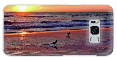 Three Seagulls On A Sunset Beach Galaxy Case