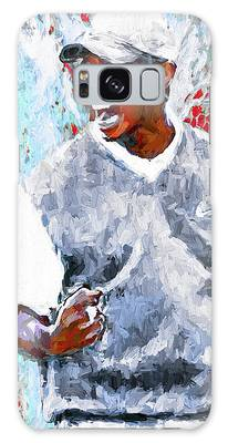 Tiger Woods One Two Red Painting Digital Galaxy Case