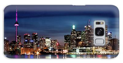 Galaxy Case featuring the photograph Toronto Skyline At Night From Polson St No 2 by Brian Carson
