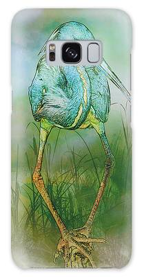 Galaxy Case featuring the photograph Tri-colored Heron Balancing Act - Colorized by Patti Deters