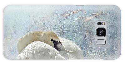 Galaxy Case featuring the photograph Trumpeter Textures #1 - Swan Feather by Patti Deters