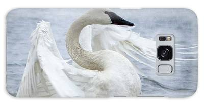 Galaxy Case featuring the photograph Trumpeter Swan - Misty Display 2 by Patti Deters