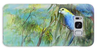 Two Pale-faced Rosellas Galaxy Case