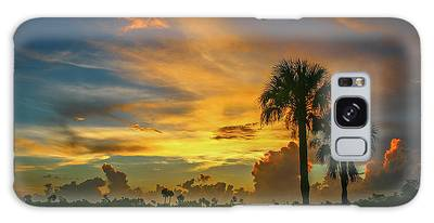 Galaxy Case featuring the photograph Two Palm Silhouette Sunrise by Tom Claud
