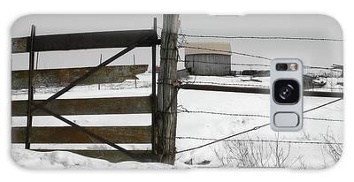 Winter Fence Farm Galaxy Case