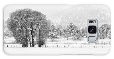 Winter Pasture In Black And White Galaxy Case