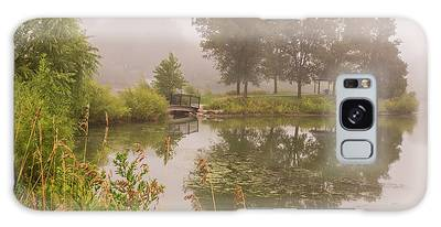 Galaxy Case featuring the photograph Misty Pond Bridge Reflection #5 by Patti Deters