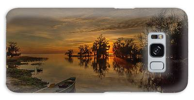 Galaxy Case featuring the photograph Blue Cypress Canoe by Tom Claud