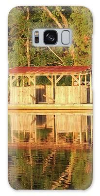 Boat Dock At Sunrise Galaxy Case by Cynthia Guinn