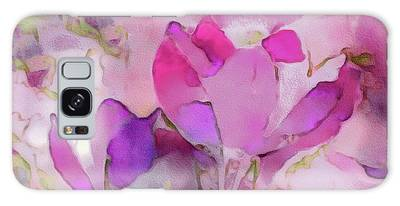 Galaxy Case featuring the mixed media Crocus So Pink by Susan Maxwell Schmidt