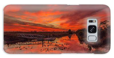 Galaxy Case featuring the photograph Explosive Sunset At Pine Glades by Tom Claud