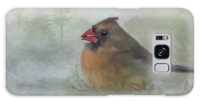 Galaxy Case featuring the photograph Female Cardinal With Seed by Patti Deters