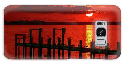 Galaxy Case featuring the photograph Fireball And Pier Sunrise by Tom Claud