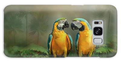 Galaxy Case featuring the photograph Gold And Blue Macaw Pair by Patti Deters