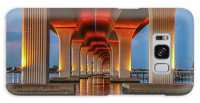 Galaxy Case featuring the photograph Orange Light Bridge Reflection by Tom Claud