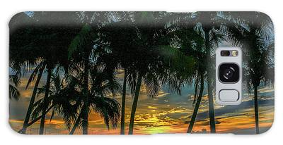 Galaxy Case featuring the photograph Palm Tree Lagoon Sunrise by Tom Claud