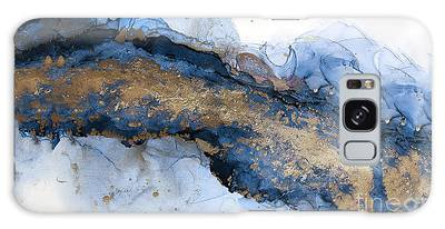 River Of Blue And Gold Abstract Painting Galaxy Case