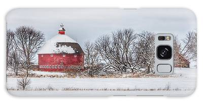 Snow Covered Round Barn Galaxy Case