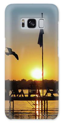 Sunset Dock Flag Silhouette Galaxy Case by Patti Deters