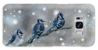 Galaxy Case featuring the photograph Three Blue Jays In The Snow by Patti Deters