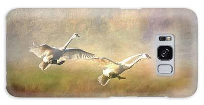 Galaxy Case featuring the photograph Trumpeter Swan Landing - Painterly by Patti Deters