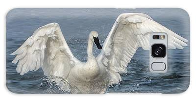 Galaxy Case featuring the photograph Trumpeter Swan Splash by Patti Deters