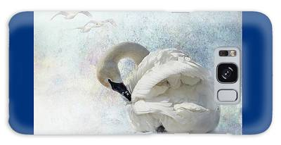 Galaxy Case featuring the photograph Trumpeter Textures #2 - Swan Preening by Patti Deters
