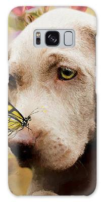Weimaraner Puppy With Butterfly - Painting Galaxy Case by Ericamaxine Price