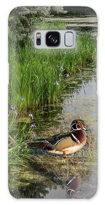 Wood Duck And Iris Galaxy Case by Patti Deters