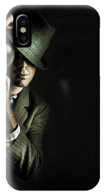 Security Detective With Magnifying Glass IPhone Case by Jorgo Photography - Wall Art Gallery