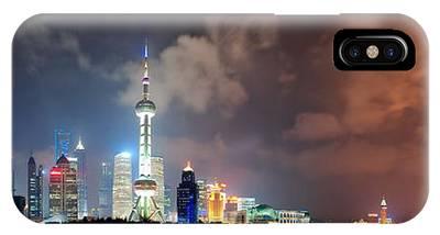 Shanghai Skyline At Night IPhone Case