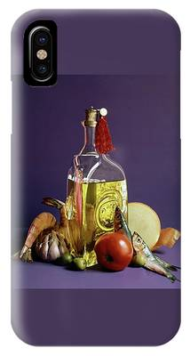 A Bottle Of Olive Oil Surrounded By A Variety IPhone Case