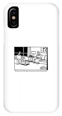 A Husband And Wife Sit In Their Living Room IPhone Case