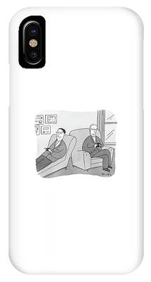 A Man Is On The Couch In His Therapist's Office IPhone Case
