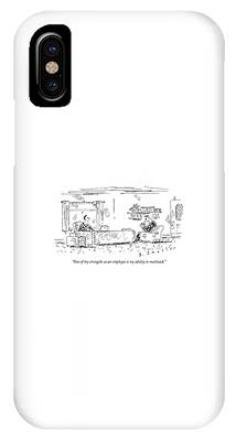 A Man Sits In An Office Opposite His Boss' Desk IPhone Case