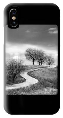 A Winding Country Road In Black And White IPhone Case