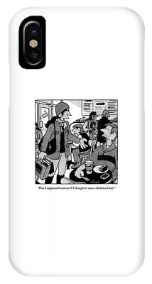 A Woman Approaches A Man At A Cafe And Speaks IPhone Case