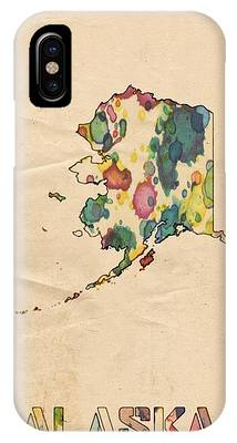 Alaska Map Vintage Watercolor IPhone Case by Florian Rodarte
