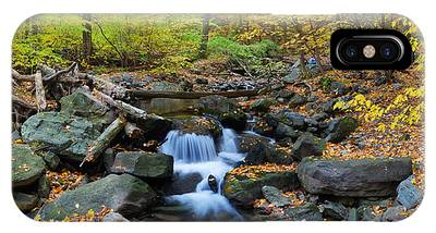 Autumn Creek Panorama With Yellow Maple Trees IPhone Case