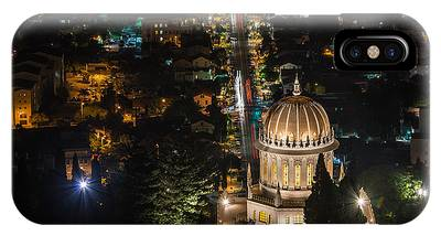 IPhone Case featuring the photograph Baha'i Temple At Night by Michael Goyberg