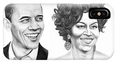 Michelle Obama Portrait Drawings iPhone Cases