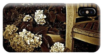 IPhone Case featuring the photograph Bench With Hydrangeas by Patricia Strand