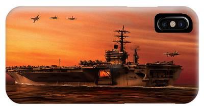 Uss Hornet Digital Art iPhone Cases