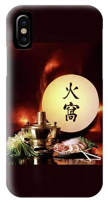Chinese Food Against A Backgroup Of Flames IPhone Case