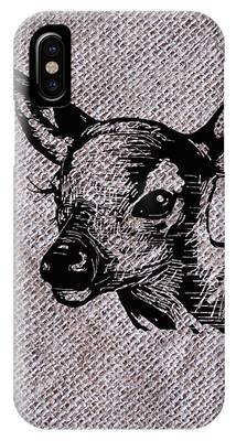 Deer On Burlap IPhone Case