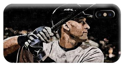 IPhone Case featuring the painting Derek Jeter On Canvas by Florian Rodarte